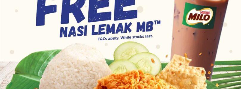 Get FREE Nasi Lemak MB with Milo Tomorrow at Marrybrown